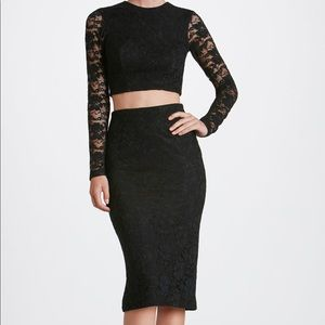 H & M one of a kind floral Lace skirt set